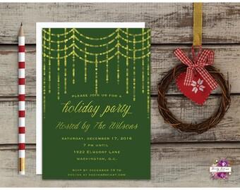 Green and Gold Glitter - Bokeh Sparkle - Holiday Party invitation - Christmas Party Invitation - Printable Invitation  - Digital Invitation