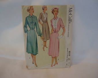 Vintage 1951 Belted Shirtwaist Dress Pattern McCall's Inset Button Front Bodice Bust 40