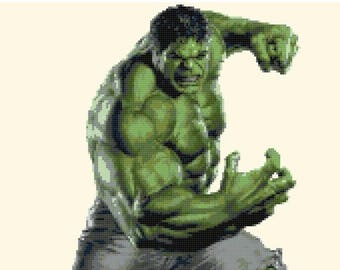 "ON SALE Counted Cross Stitch Pattern - little Hulk by Marvel - 12.00"" x 16.86"" - L1294"