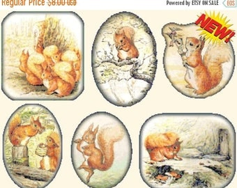 "six scenes with squirrel nutkin by potter counted Cross Stitch Pattern PDF needlepoint needlework - 25.57"" x 19.71""  - L1302"
