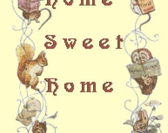 "Home sweet home 1 by beatrix potter  - counted Cross Stitch Pattern chart pdf format - 13.79"" x 18.00""  - L1154"