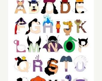 "Alphabet Disney villains Cross Stitch Alphabet Disney Pattern abc pattern ponto de cruz needlepoint -17.14"" x 23.29""- L1190"