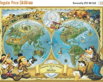 "disney map Cross Stitch pattern disney map pattern modern cross stitch, needlepoint, needlecraft - 31.50"" x 22.50"" - L794"