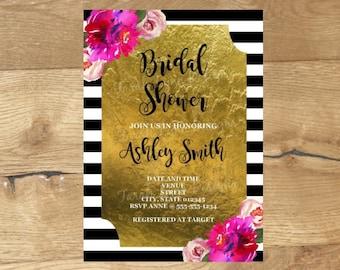 bridal shower invitation black and white invitations kate spade inspired bridal shower printable - Kate Spade Wedding Invitations