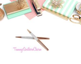 ROSE GOLD PEN - Diamond Crystal Ballpoint Pens - rose gold pens, rose gold, writing pens, crystal pens, planner accessories