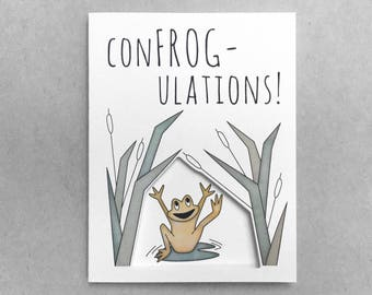Congratulations card | Pun card | Cute frog card | Baby shower card | Graduation card | Card for him | Card for her