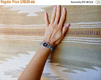 Vintage Zuni Silver Sunface Inlay Turquoise Women's Watch, Zuni Watch, Turquoise Watch, Women's Watch, Sunface Inlay Watch,Handcrafted Watch