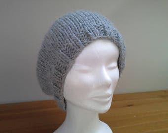 Gray Merino Alpaca hand knitted Hat
