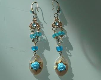 Blue baroque earrings