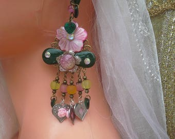 long earrings (HAUTE COUTURE) pink flowers