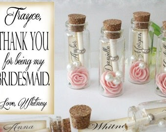 Thank you for being my Bridesmaid / Maid of Honor / Matron of Honor / Flower girl / gift. Message in a bottle / card (P028)