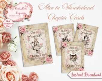 Alice in Wonderland Table Numbers - Wedding Reception - Printable Table Numbers - Wonderland Wedding - Chapter Cards - INSTANT DOWNLOAD