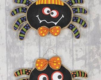 "15"" Fabric/Burlap Halloween Spider Hanger / Set of 2/Wreath Supplies/Halloween Decor/36541"