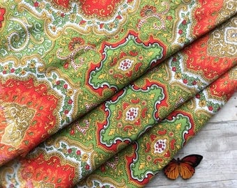 """Brightly Colored Vintage Paisley Fabric - Moss Green, Orange , White  and Black - 2 1/2 Yards x 40"""" Wide"""