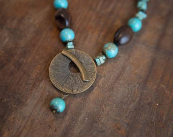Brass-tone, Wood, & Turquoise Necklace