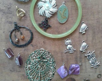 Destash Jewelry Supply Lot Mixed Pieces Craft Jewelry Costume Jewelry Components Bangle Toggle Shells Owls Junk