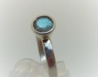 Silver Ring, Labradorite Stacking RIng, Solitaire Labradorite Ring, Boho RIng, Semi Precious Gemstone, Size M