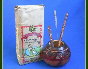 """Handcarved """"Indian"""" Mate Gourd, Organic Yerba, Bombilla & Wooden Spoon"""
