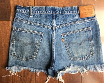 Vtg Orange Tab Levi cutoff shorts vintage womens levi's classic blue straight frayed worn 70s 80's size 33 / 34 summer cutoffs festival sale