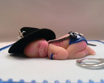 "Polymer Clay Babies ""Police Officer Baby"" BABY SIZE 2.5"" Collectible, Gift, Memorial, Keepsake, Home Display/Decor, Cake Topper, Baby Shower"