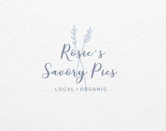 Pre Made Logo // Illustrated Cooking Logo // Hand Drawn // Customized with Your Name // Premade Botanical Logo Design