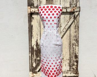 Va Va Voom 1950s White with Red Polka Dots Wiggle Small XS 24 Waist