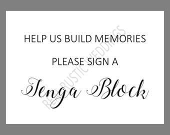PRINTABLE 5x7 Help Us Build Memories Please Sign a JENGA Block SIGN