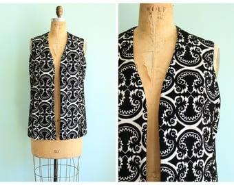 Vintage 1960's Demask Velvet Print Vest | Size Small