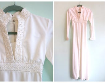 Vintage 1970's White Beaded Jumpsuit | Size Extra Small