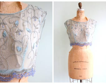 Vintage 1920's Blue Chiffon Beaded Blouse | Size Small