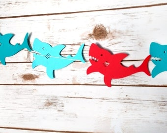 Red & Blue Shark Garland