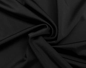 "Black Lycra Matte Milliskin Nylon Spandex Fabric 4 Way Stretch 58"" wide Sold By The Yard"
