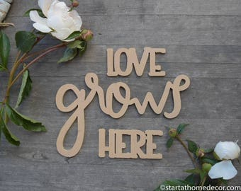 Love Grows Here MDF Cutout | Wood Word | Typography | MDF Cutout