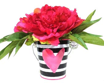 Peony centerpiece, Peony floral arrangement, Peony arrangement, Pink peonies, Valentine gift, Gift for her, Valentines Day decor, Girls room