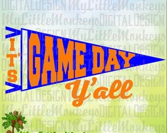 Game Day SVG ~ It's Game Day Y'all ~ Pennant Flag ~ Football svg ~ Game Day Shirt ~ Commercial Use SVG ~ Cut File ~ Clipart ~ dxf-eps-png