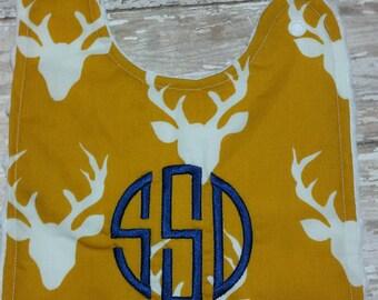 Baby bib- Deer Baby BIb, Mustard yellow with Off White Deer Head, Personalized Baby Bib, Baby Boy Bib, Baby Girl Bib, Minky Bib