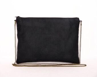 Black clutch, black purse, bondoul bag