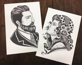 Lady & gentleman print, Couple Tattoo Print, traditional tattoo print - Mr and Mrs gift, His and Hers set, Couples Gift, Wedding gift