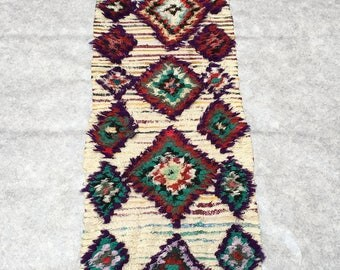 Morrocan BOUCHEROUITE  rug  9.8'x2.3'