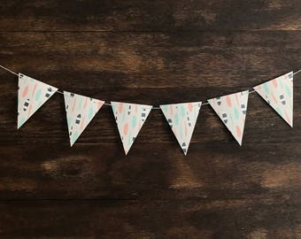12 Flags • Feather Banner • Baby Shower Bunting • Nursery Banner • Tribal Print Banner • Party Banner