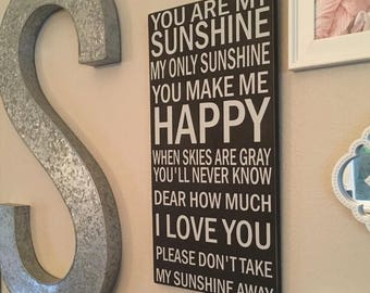 You Are My Sunshine wall art,Nursery wall decor,wall decor,Lullaby Art,wood sign nursery wall decor,Rustic Nursery, Distressed sign