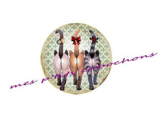 25 mm - nice Ref 3 cats glass cabochon