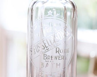 1930s English Acid Etched Fluted Glass Seltzer - Clear Glass Syphon - Fussell & Sons Limited -  Free Shipping Within the USA