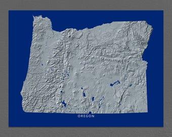 Oregon Map, Oregon Wall Art, OR State Art Print, Landscape, Navy Blue