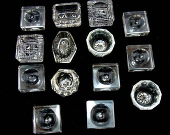 Vintage open salt lot-vintage cut glass salt cellars -14 vintage glass salt dip-cut glass small bowls-antique cut glass-wedding cake toppers