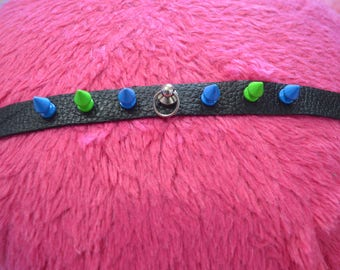 green and blue spiked choker