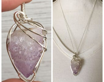 Spirit Quartz Wire Wrapped Pendant / Sterling Silver