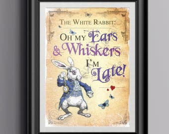 Alice in Wonderland Instant Download Wall Art - Printable A4 Poster - The White Rabbit I'm Late Quote