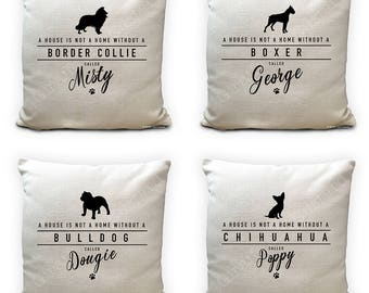 Personalised Pet Name Dog Breed Cushion cover - custom made Home Decor - 40cm 16 inch