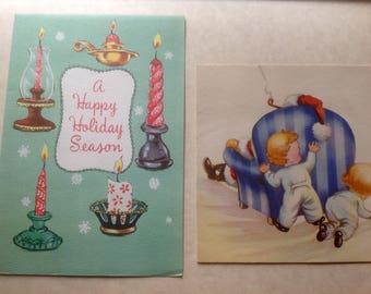 Vintage Christmas cards pair